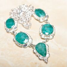 "Handmade Green Emerald Gemstone 925 Sterling Silver Necklace 19"" #N01218"