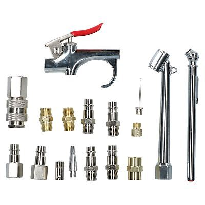 17pc Euro Air Tool Compressor Air Line Fittings Accessory Kit Blow Gun Inflator Verkaufsrabatt 50-70%