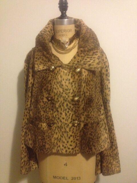 Gianni Versace Vintage VERSUS Leopard Animal Faux Fur Jacket Coat 1990s IT 44
