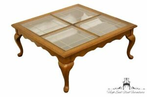 Details About High End Solid Oak Country French Square Coffee Tail Table W Leaded Gl