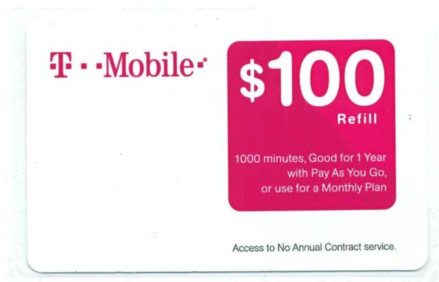T-Mobile 1000 Minutes Prepaid Refill Card Unscratched