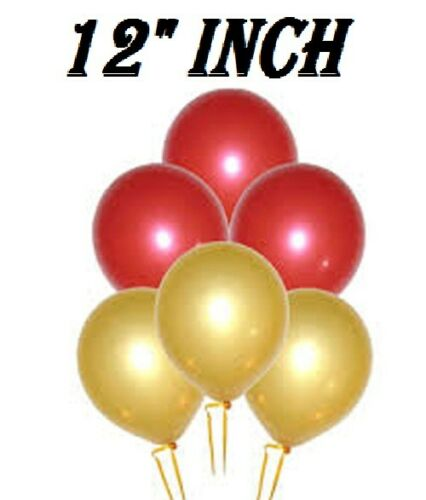 """12/"""" PEARL SHINE LATEX THEME RED/&GOLD PARTY BALLOONS 20-50 PACK"""