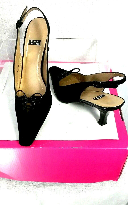 Stuart Weitzman mujeres 6.5 B Negro Peau du SOIE Tela Tela Tela Gatito Tacón Charol Zapato  de moda