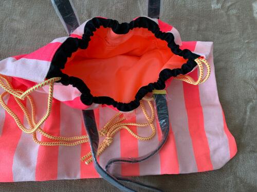 Victorias Secret Pink White Black Neon Stripe Beach Getaway Bag Tote Purse New
