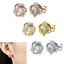 14K-Rose-Gold-925-Silver-Love-Knot-Stud-Earrings-with-Swarovski-Crystals-A-Grade thumbnail 1