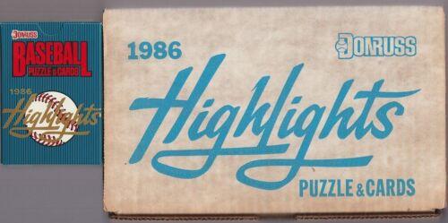 15 SETS 1986 DONRUSS Baseball Highlights Factory Set Interior Box LOT - CL_#3L