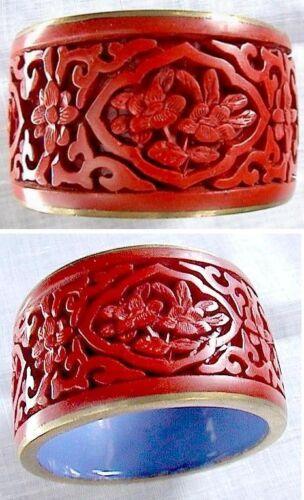 1 Vintage Original Cinnabar lacquer napkin ring RARE Flower Design