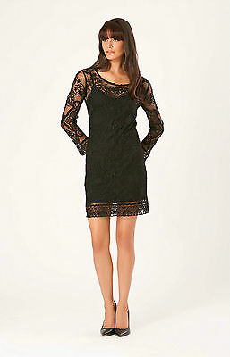 Hale Bob LOVELY Embroidered Shift Dress Long Sleeve XS NWT $165 3RBL6217