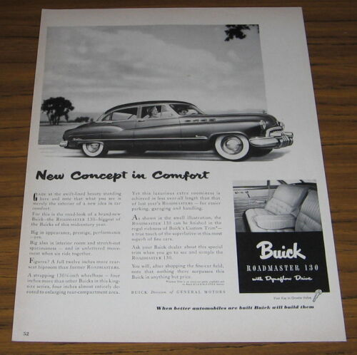 1950 Vintage Ad The Buick Roadmaster 130 with Dynaflow Drive