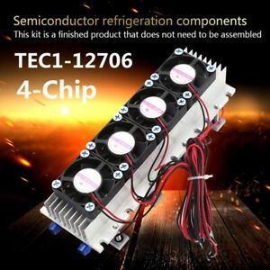 12V-4-Chip-TEC1-12706-Thermoelectric-Peltier-Air-Radiator-Refrigeration-Cooler