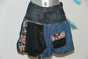 Détails sur jolie jupe boule patchwork en jeans DESIGUAL taille grand 36 français réel 38