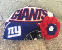 York Giants Fleece Flower Hat - Newborn Baby Girls, Children, Adult Women