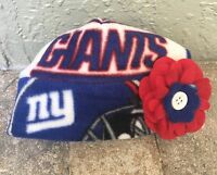 York Giants Fleece Flower Hat - Newborn Baby Girls, Children, Adult Women