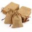 Light Coffee Wedding Favor Hessian Burlap Jute Gift Bags Drawstring Pouch