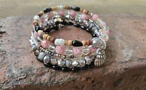 Women's handmade silver, black, pink/clear, & bracelet wrap with ocean gems