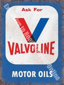 Valvoline Motor Oils, Petrol,158 Vintage Garage Old Oil, Large Metal Tin Sign