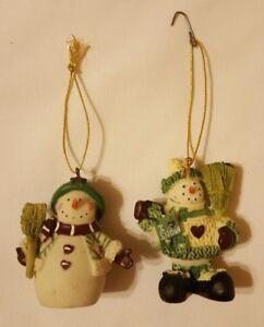 2-Christmas-winter-SNOWMAN-SNOWMEN-Figurine-Ornaments-Decorations-pre-owned