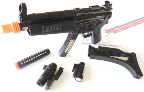 Militaire Soldat Pistolets énorme électronique MP5 avec silencieux et portée Playset