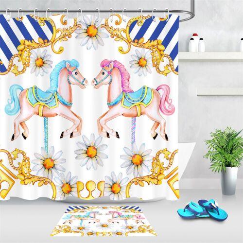 Kids Watercolor Merry-go-round Horses Floral Shower Curtain Set Bathroom Decor