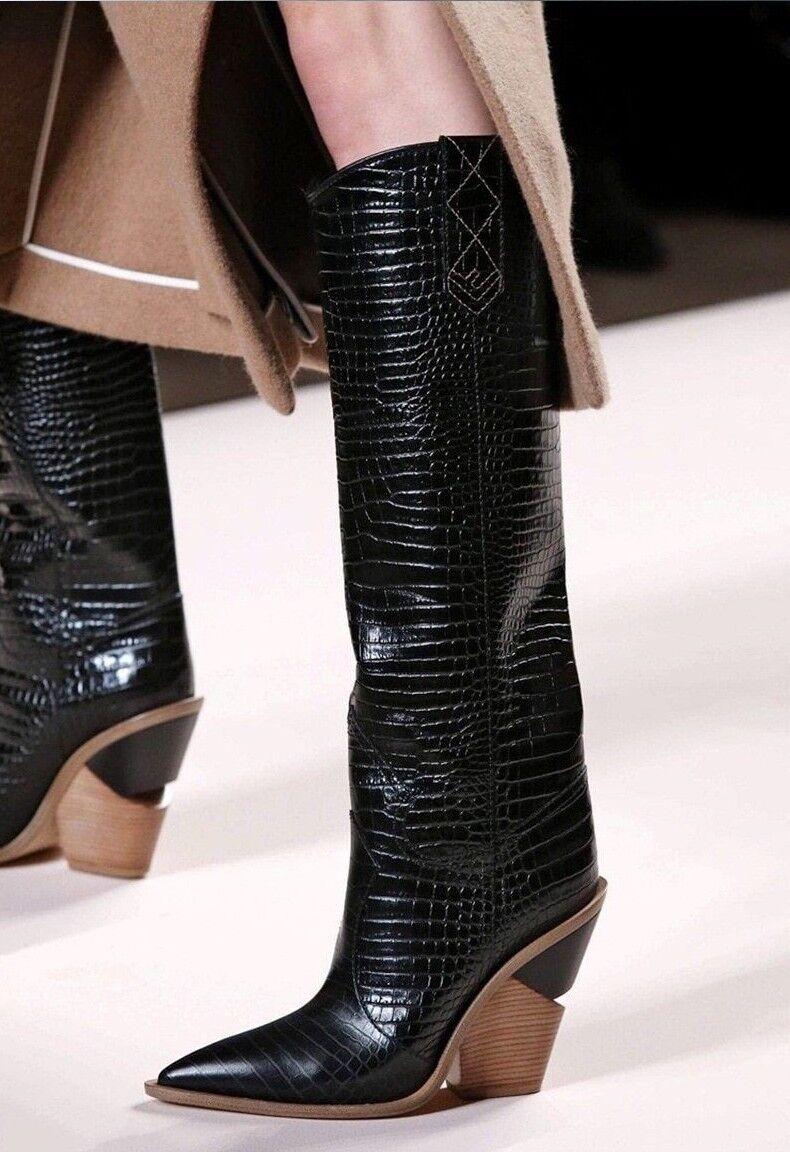 Zapatos de cuero cuero cuero BTO3 Puntera en Punta Moda Diseñador Tacón Alto para mujer Bota De Cowboy  las mejores marcas venden barato
