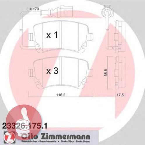 Zimmermann Bremsbeläge mit Warnkontakt Hinterachse 23326.175.1 für VW