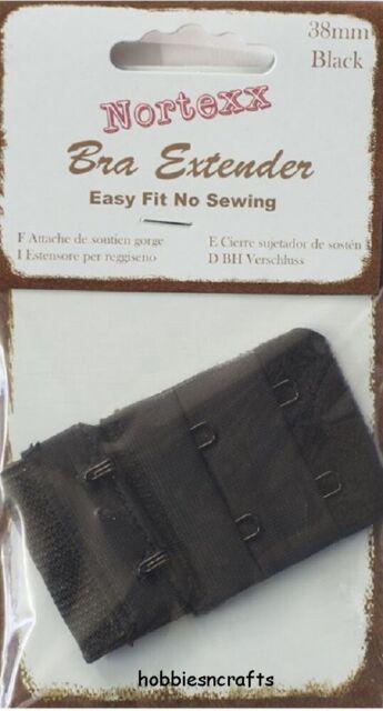 Bra Extender 2 Hook 38mm Wide Black No Sewing Needed