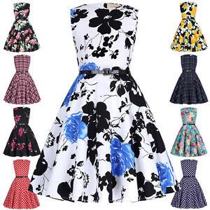 Habille-Filles-Robe-Motif-Floral-Annees-50-1960s-Vintage-Pinup-Swing-Soiree