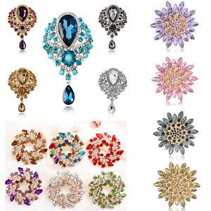 Wedding-Bridal-Colorful-Rhinestone-Crystal-Pearl-Flower-Animal-Broach-Brooch-Pin