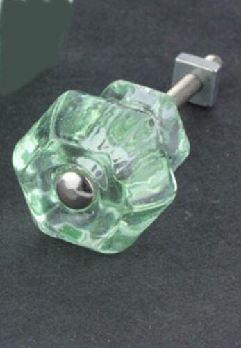 Depression Glass Cabinet Knobs Antique Coke Bottle Green Vintage Set Of 6