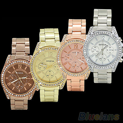 LADY FANCY GENEVA BLING CRYSTAL STAINLESS STEEL ANALOG QUARTZ WRIST WATCH GIFT