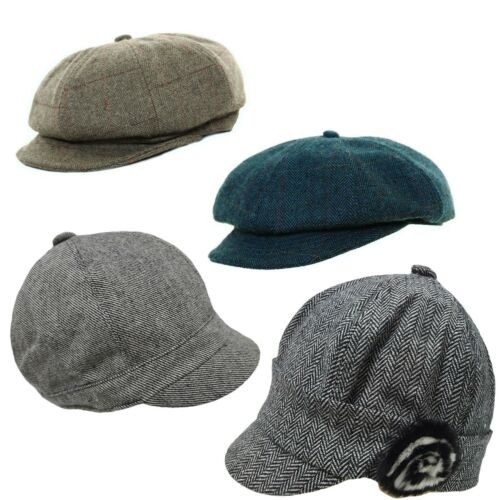 Ladies Herringbone Baker Boy wool Blend Tweed Cap Newsboy Hat  Flat Cap