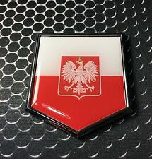 "Poland Flag Domed CHROME Emblem Proud Polish Flag Car 3D Sticker 2""x 2.25"""