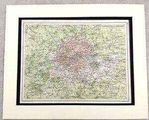 1899-Antique-Map-of-London-England-South-East-19th-Century-Original