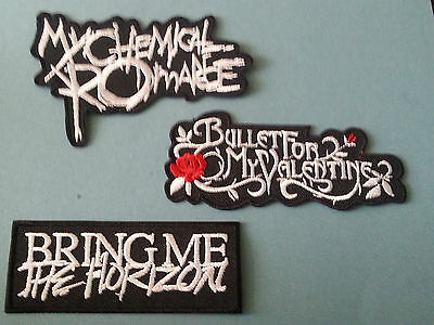 SET OF THREE MUSIC SEW/IRON ON PATCHES:-  MYCHEMICAL BULLET BRING ME