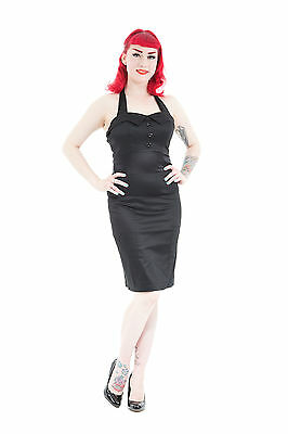 NEW 40's 50's CLASSIC VINTAGE STYLE BLACK HALTERNECK PIN UP FITTED PENCIL DRESS