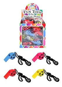 3-Plastic-Football-Whistle-Neck-Cord-Kids-Party-Bag-Filler-Pocket-Money-Toy
