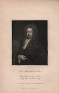 1836-GEORGIAN-PORTRAIT-PRINT-LORD-CHANCELLOR-SOMERS