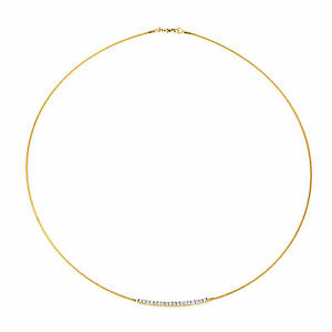 14 KT White Gold Thin Cable Wire Collar Necklace w/ Pave Diamond ...