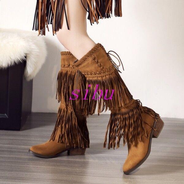 Fashion Women's Knee High Boots Side Zip Pointed Toe Bandage Tassel Block Heel