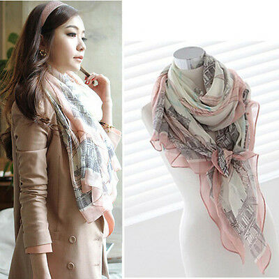 Women Long Printed Cotton Voile Scarf Wrap Shawl Girls Elegant Spring Scarves