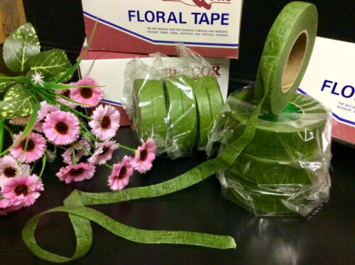 "Corsage-Ramos-tallos flores artesanías /""Marrón floristería cinta/"" 12 pegajoso Elástico"