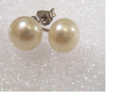 Stud Earrings 7mm Genuine Freshwater White Ivory Pearl 925 Sterling Silver UK