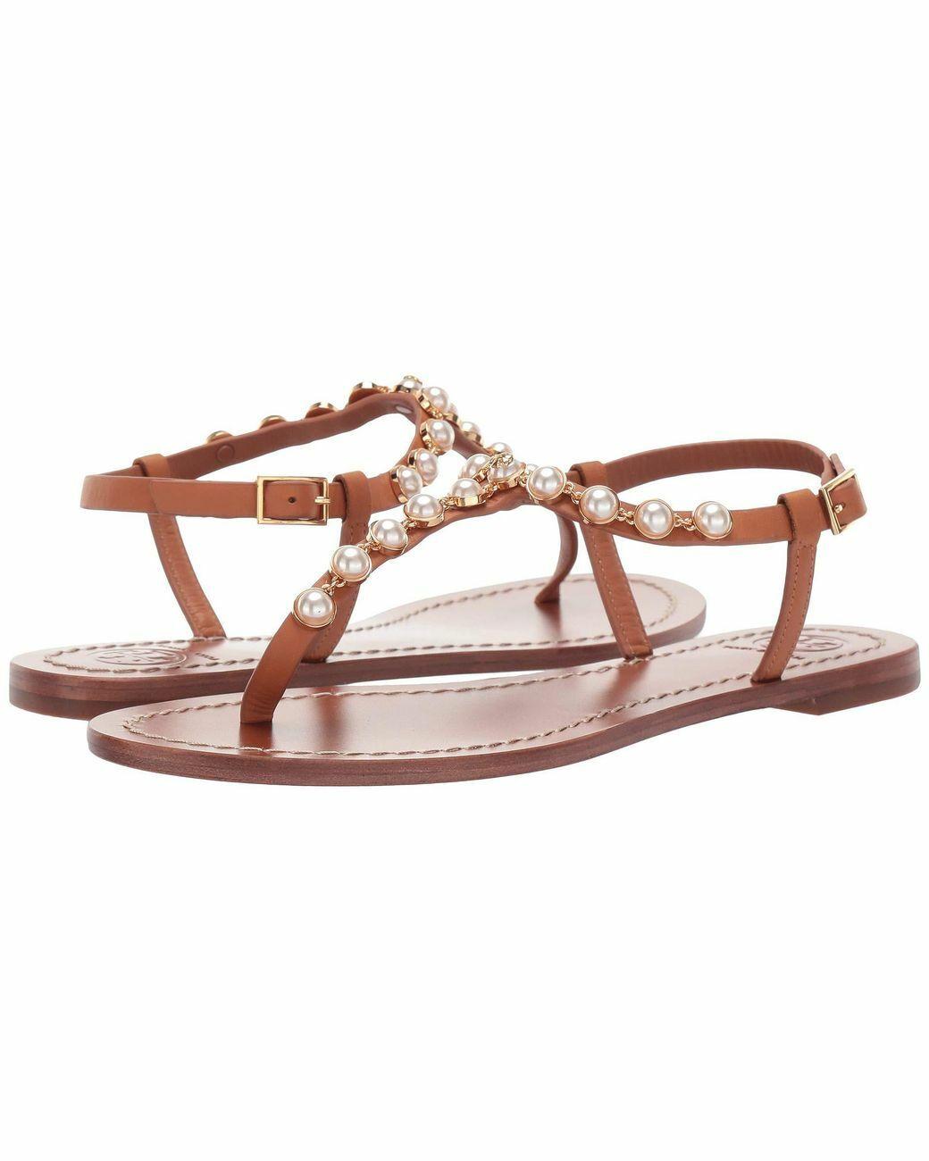 Tory Burch Burch Burch Emmy Pearl Thong läder Sandals TAN  bekvämt