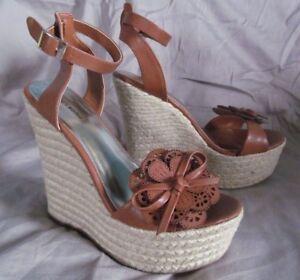 4de633ebfb7 Brown ankle strap platform wedge sandals Flower detail ZIGI SOHO NEW ...