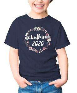Kinder-T-Shirt-Maedchen-Aufdruck-Schulkind-2020-Blumenranken-Borduere-Blueten