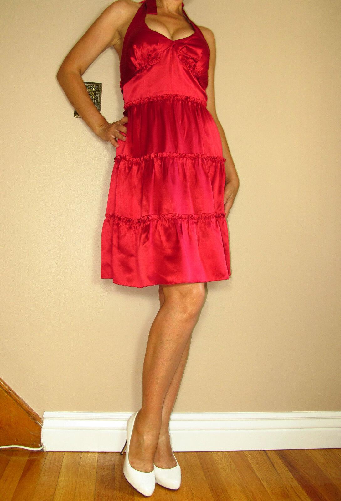 Nuovo Betsey Johnson 100% Seta Rosso Canotta Abito da Donna Donna Donna a Strati Prairie 4 502770