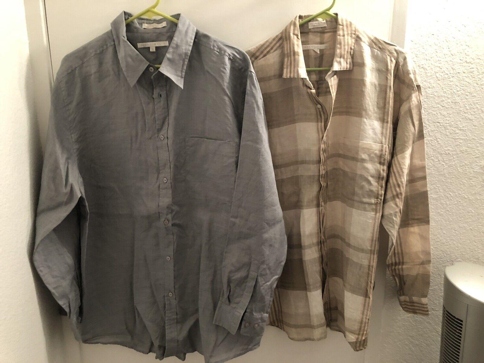 Lot Of TWO Perry Ellis Linen Dress Shirts XL Vint… - image 1