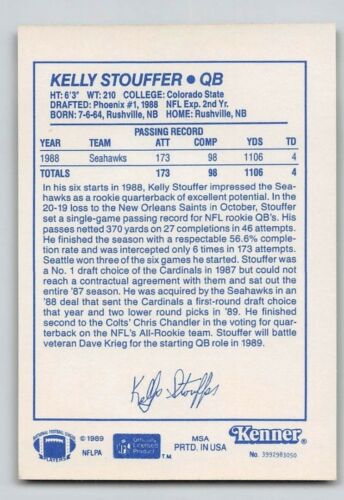 Kenner Starting Lineup Card 1989  KELLY STOUFFER SEATTLE SEAHAWKS