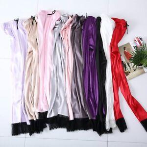 2c89bec03 Image is loading Women-Faux-Silk-Lounge-Pants-Satin-Bottoms-Trouser-