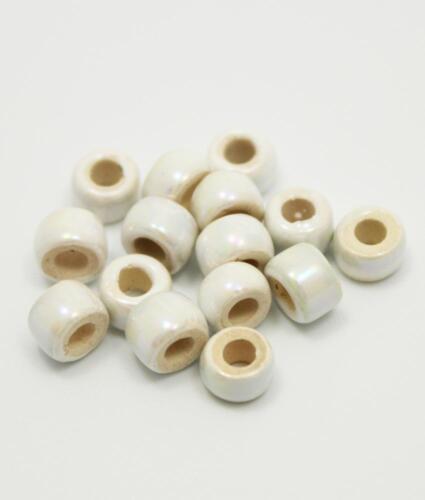 Keramik Zylinder weiß 6mm 15 Stück Emaille glänzend griechische Keramikperlen